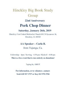 Hinckley Big Book – 22nd Anniversary Pork Chop Dinner @ Hinckley First United Methodist Church