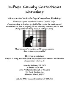 DuPage County Corrections Workshop @ First Presbyterian Church of Wheaton