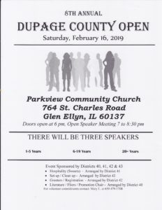 DuPage County Open @ Parkview Community Chrch