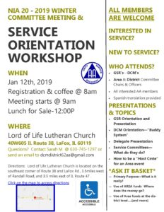 Service Orientation Workshop- Area 20 Committees @ Lord of Life Lutheran Church