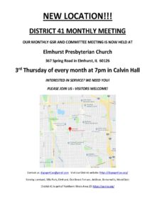 ONLINE:  DISTRICT 41 MONTHLY BUSINESS MEETING @ Elmhurst Presbyterian Church
