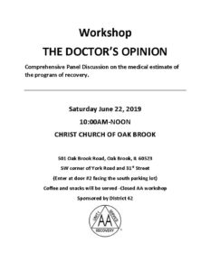 THE DOCTOR'S OPINION WORKSHOP @ CHRIST CHURCH OF OAK BROOK
