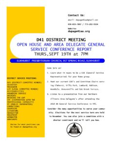 D41 DIST OPEN HOUSE AND AREA DELEGATE G S O CONFERENCE REPORT @ Elmhurst Presbyterian Church