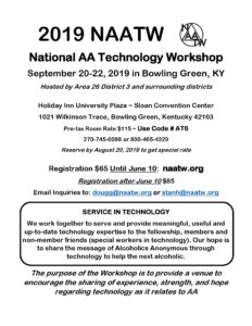 2019 NAATW National AA Technology Workshop September 20-22, 2019 in Bowling Green, KY Hosted by Area 26 District 3 and surrounding districts Holiday Inn University Plaza ~ Sloan Convention Center 1021 Wilkinson Trace, Bowling Green, Kentucky 42103 @ Holiday Inn University Plaza ~ Sloan Convention Center
