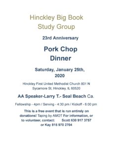 Hinkley Big Book – 23rd Anniversary Pork Chop Dinner @ Hinckley First United Methodist Church