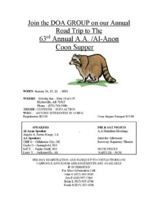 63rd Annual A.A. /Al-Anon Coon Supper @ Holiday Inn