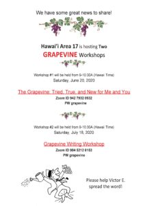 Zoom Grapevine Writing Workshop