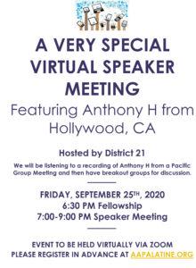 A VERY SPECIAL VIRTUAL SPEAKER MEETING