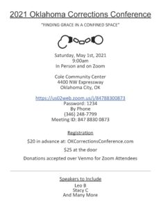 2021 Oklahoma Corrections Conference Live and on zoom! @ Cole Community Center