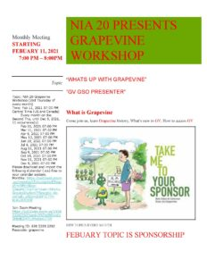 NIA 20 Grapevine Workshop via Zoom