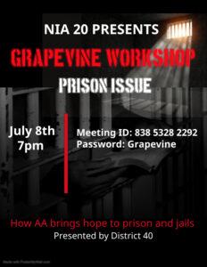 Grapevine Workshop: Prison Issue