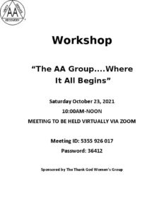 The AA Group—Where It All Begins Zoom Workshop